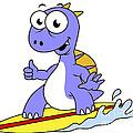 Illustration Of A Surfing Spinosaurus by Stocktrek Images