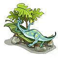 Illustration Of An Iguanodon Sunbathing by Stocktrek Images