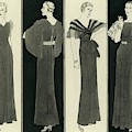 Illustration Of Four Women In Evening Dresses by Polly Tigue Francis