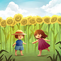 Illustration Of Friends Playing In Sunflower Field by Fanatic Studio / Science Photo Library