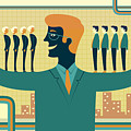 Illustration Of Leader Carrying Business People On His Arms by Fanatic Studio / Science Photo Library