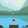 Illustration Of Man Diving Into Lake by Malte Mueller