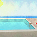 Illustration Of Swimming Pool On Sunny by Malte Mueller