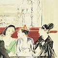 Illustration Of Three Women Wearing Designer Hats by Rene Bouet-Willaumez