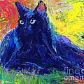 Impasto Black Cat Painting by Svetlana Novikova