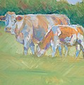 Impressionist Cow Calf Painting by Mike Jory