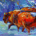 Impressionistic Buffalo Painting by Svetlana Novikova