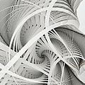 In Betweens-white Fractal Spiral by Karin Kuhlmann
