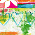 In Bloom- Colorful Heart And Flower Art by Linda Woods