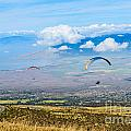 In Flight - Paragliders Taking Off High Over Maui. by Jamie Pham