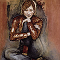 In Her World, 2005 Pen & Ink With Oil On Paper by Stevie Taylor