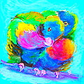 In Love Birds - Lorikeets by Sue Jacobi
