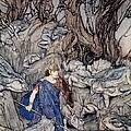 In The Forked Glen Into Which He Slipped At Night-fall He Was Surrounded By Giant Toads by Arthur Rackham