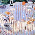 In The Garden Table With Oranges  by Sarah Butterfield