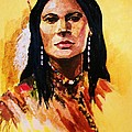 Maiden In White Feather And Beads by Al Brown