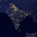 India At Night Satellite Image by Nasa