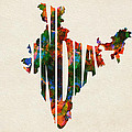 India Typographic Watercolor Map by Inspirowl Design