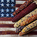 Indian Corn On American Flag by Garry Gay