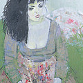 Indian Earring Dark-haired Girl In Green Oil On Canvas by Endre Roder