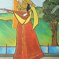 Indian Lady Playing Ancient Musical Instrument by Artist Nandika  Dutt