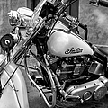 Indian Motorcycle In French Quarter-bw by Kathleen K Parker