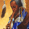 Indian Playing Flute by Don  Langeneckert