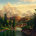 Indian Village Trapper Western Mountain Landscape Oil Painting - Native Americans -square Format by Walt Curlee