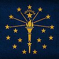Indiana State Flag Art On Worn Canvas by Design Turnpike