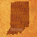 Indiana State Word Art On Canvas by Design Turnpike