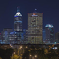 Indianapolis Indiana Night Skyline Blue by David Haskett II