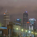 Indianapolis Indiana Night Skyline Foggy 1 by David Haskett II