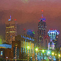 Indianapolis Indiana Night Skyline Painted Digitally by David Haskett II