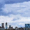 Indianapolis Indiana Painted Digitally Blue 2 by David Haskett II