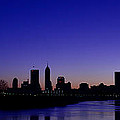 Indianapolis Indiana Panoramic Blue Hour Sunrise by David Haskett II