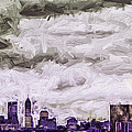 Indianapolis Indiana Skyline Digitally Painted Purple 1 by David Haskett II
