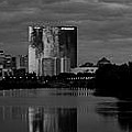 Indianapolis Indiana Skyline Panoramic Black White by David Haskett II
