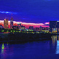 Indianapolis Indiana Skyline Sunrise Digitally Painted by David Haskett II