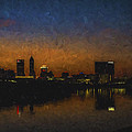 Indianapolis Indiana Skyline Sunrise Square Digitally Painted by David Haskett II