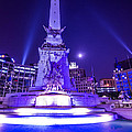 Indianapolis Monument Circle Night by David Haskett II