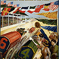 Indianapolis Motor Speedway - Vintage Lithograph by Mountain Dreams