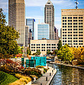 Indianapolis Skyline Picture Of Canal Walk In Autumn by Paul Velgos