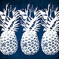 Indigo And White Pineapples by Linda Woods