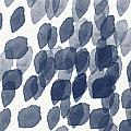 Indigo Rain- Abstract Blue And White Painting by Linda Woods