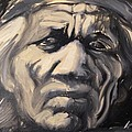 Indio Indian Black And White Oil Painting by Armando Renteria