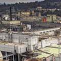 Industrial Area Along River Panorama by David Gn