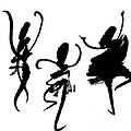 Ink Painting With Abstract Dancers  by Kerstin Ivarsson