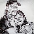 Ink Portrait Of My Father And I by Shana Rowe Jackson