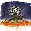 Inktober 19 Burning Tree by Ken Meyer
