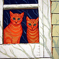 Orange Cats Looking Out Window by Rebecca Korpita