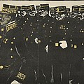 Inspection Of A Line Of Police by Georges d' Ostoya